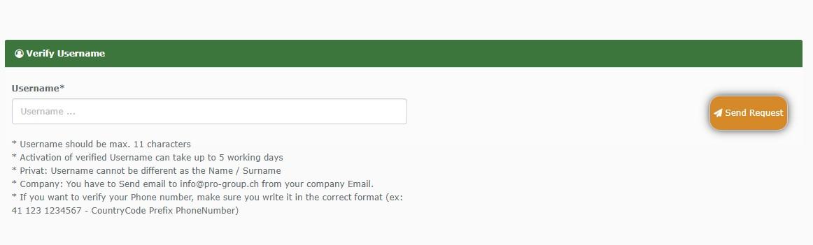 Verify Username